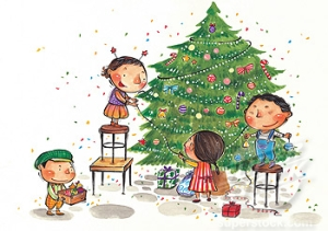 Children decorating a Christmas tree