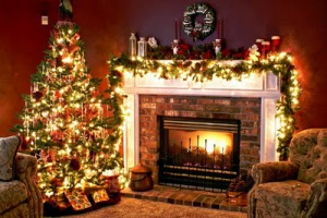 Christmas-tree-and-fireplace-in-living-room