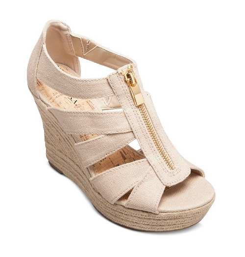 Meredith Zipper Wedge Sandals