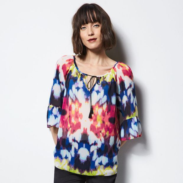 MILLY Ruffled Peasant Blouse, Bougainvillea Combo