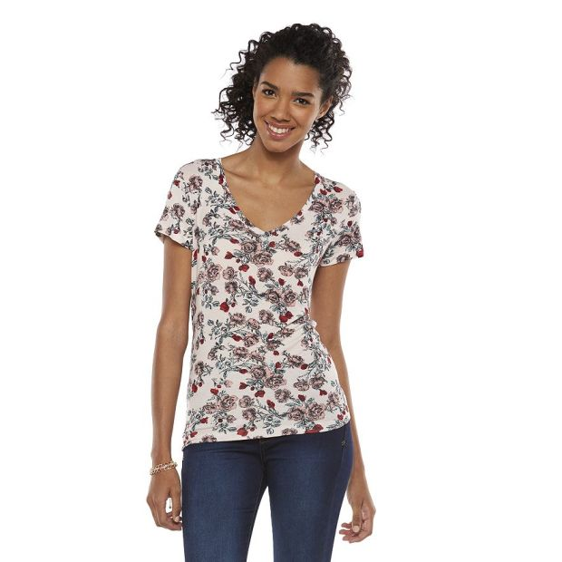 Mudd Basic V-Neck Tee, Silver Rose Floral