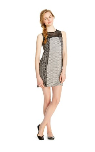 Xhilaration Mixed Print Shift Dress, Black and White