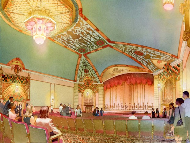 Art & Design Studios. The Historic Lansdowne Theater Restoration. John Milner Architects. Web. 8 June 2016. http://artanddesignstudio.com/Architectural-illustration-5.html.